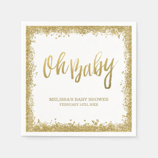 Oh Baby White Gold Faux Glitter Baby Shower Paper Napkin