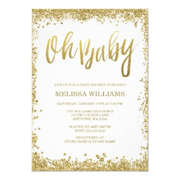 Toddler & Baby themed Oh Baby White Gold Glitter Baby Shower Card