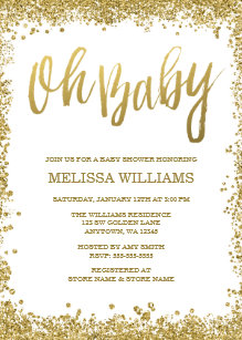 Oh Baby White Gold Glitter Shower Invitation