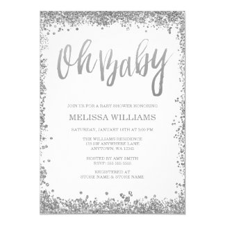 Oh Baby White Silver Glitter Baby Shower Card