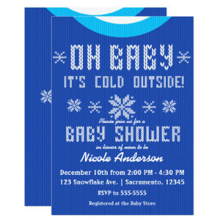 OH BABY Winter Baby Shower Knit Sweater Blue White Card