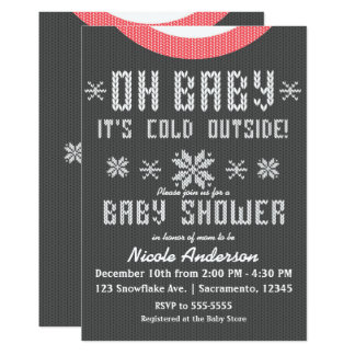 OH BABY Winter Baby Shower Knit Sweater Grey Red Card