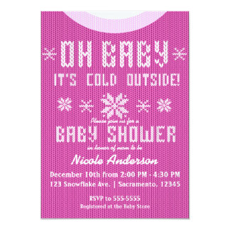 OH BABY Winter Baby Shower Knit Sweater Pink Card