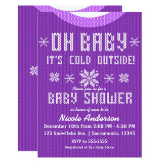 OH BABY Winter Baby Shower Knit Sweater Purple Card