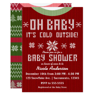 OH BABY Winter Baby Shower Knit Sweater Red Green Card