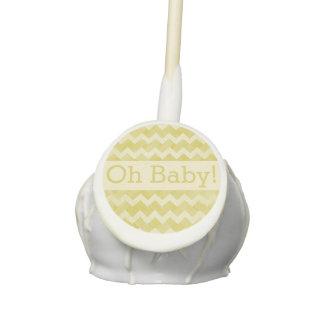 Oh Baby Yellow Chevron Neutral Gender Baby Shower Cake Pops