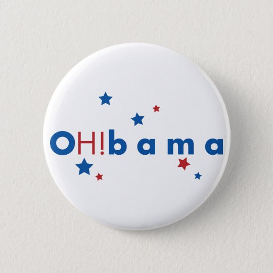 OH!bama - Blue & Red Stars Button