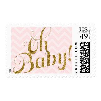 Oh bebé - el brillo del oro y Chevron rosado Timbres Postales