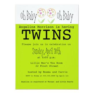 Oh bebé es gemelos - invitación de la fiesta de
