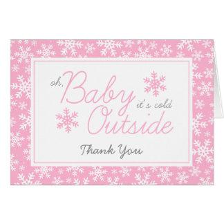 Oh bebé es rosa exterior frío le agradece tarjeta pequeña