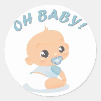 Oh bebé pegatina redonda
