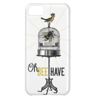 Oh Bee Have Vintage Bee Bird Cage & Crown Case For iPhone 5C