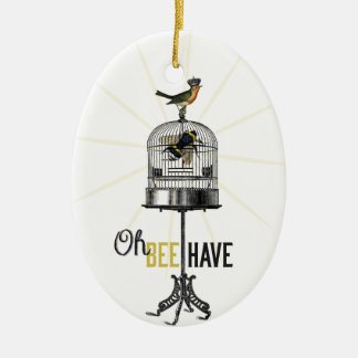 Oh Bee Have Vintage Bee Bird Cage & Crown Ceramic Ornament