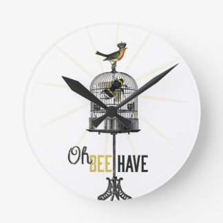 Oh Bee Have Vintage Bee Bird Cage Crown Round Wall Clocks