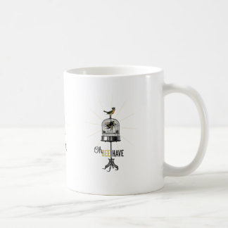 Oh Bee Have Vintage Bee Bird Cage & Crown Coffee Mug