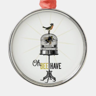 Oh Bee Have Vintage Bee Bird Cage & Crown Metal Ornament
