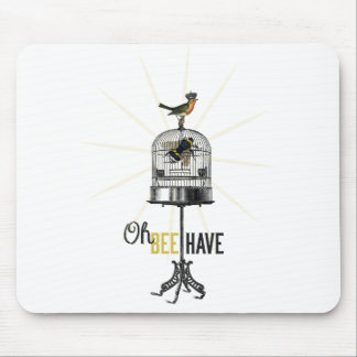 Oh Bee Have Vintage Bee Bird Cage & Crown Mouse Pad