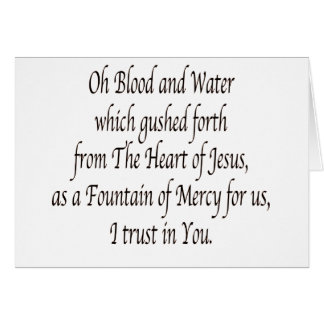 Oh Blood and Water - St. Faustina Card