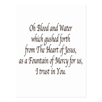 Oh Blood and Water - St. Faustina Postcard