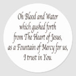 Oh Blood and Water - St. Faustina Stickers