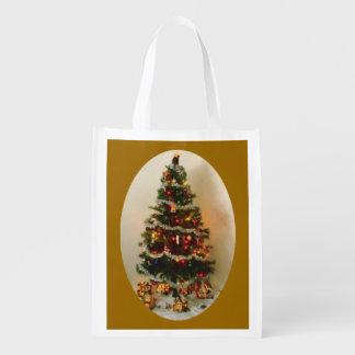 Oh, bolso reutilizable del árbol de navidad bolsa para la compra