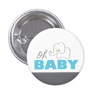 Oh botón azul y gris del elefante del bebé - de la pin redondo de 1 pulgada