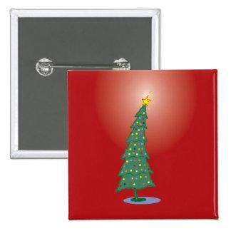 oh botón de la Plaza Roja del árbol de navidad Pin Cuadrado