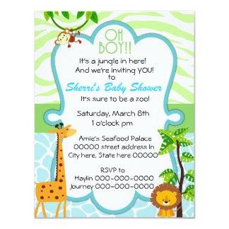 oh boy animal print baby shower invitation