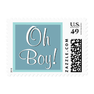 Oh Boy! Aqua Blue Baby Shower or Announcement Postage Stamp