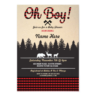Oh Boy Baby Lumberjack Baby Shower Red Invite