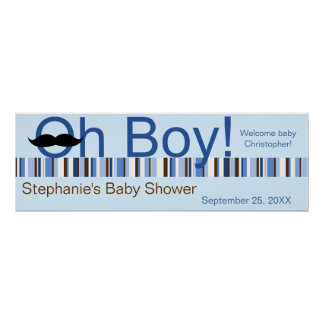 Oh Boy Baby Shower Banner Poster