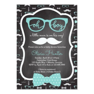 oh boy baby shower invitation blue gray card