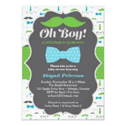 Oh Boy Baby Shower Invitation, Blue, Green Card