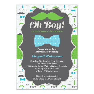 Oh Boy Baby Shower Invitation, Blue, Green Card