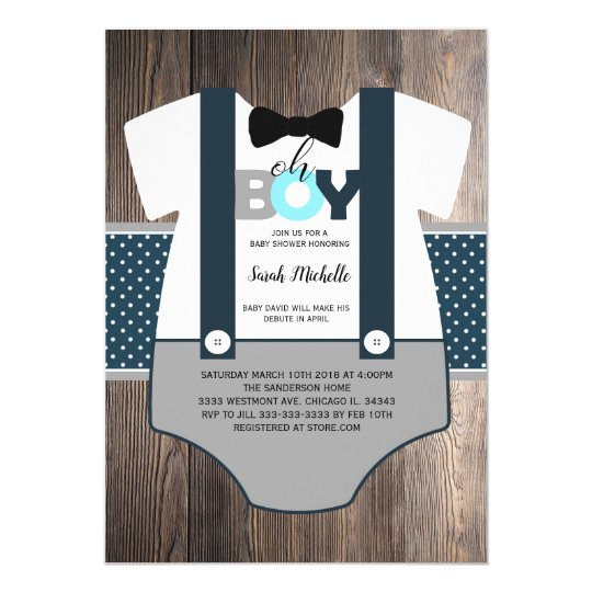 Oh Boy Baby Shower Invitation Bow Tie Baby Shower Invitation