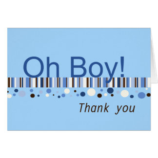 Oh Boy Baby Shower Thank You Card