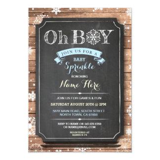 OH BOY Baby Shower Wood Winter Sprinkle Invite
