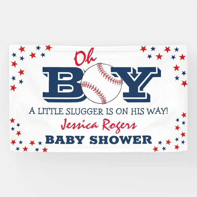 'Oh Boy' Baseball Sport Baby Shower Banner