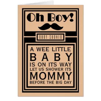 Oh Boy Black Mustache Baby Shower Invitation