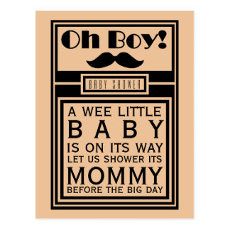 Oh Boy Black Mustache Baby Shower Invitation Postcard