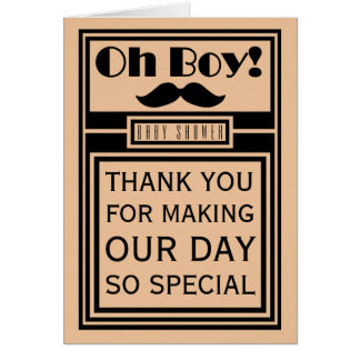 Oh Boy Black Mustache Baby Shower Thank You Card