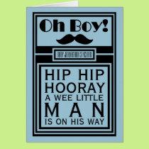 Oh Boy Black Mustache New Baby Boy Announcement