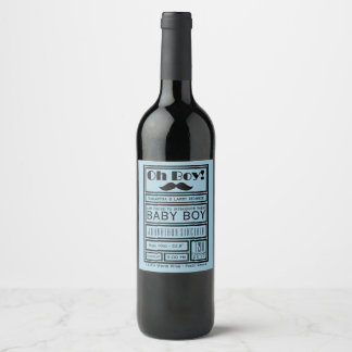 Oh Boy Black Mustache New Baby Boy Announcement Wine Label