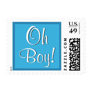 Oh Boy! Blue Baby Shower or Announcement Postage
