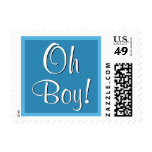 Oh Boy! Blue Baby Shower or Announcement V2 Postage Stamp