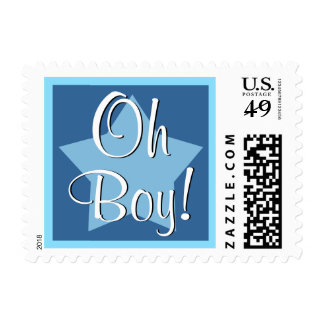 Oh Boy! Blue Baby Shower or Announcement V2E STAR Postage