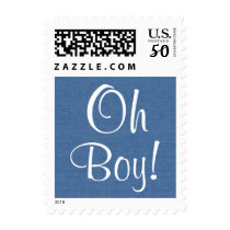 Oh Boy!!  Blue Baby Shower or Announcement V4 Postage