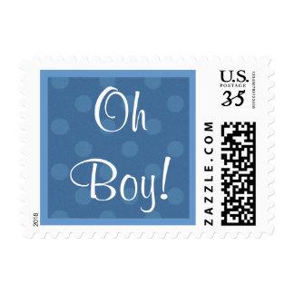 Oh Boy!  Blue Polka Dots Baby Shower V04 Postage