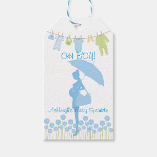 OH BOY! Blue Silhouette Baby Sprinkle Gift Tags
