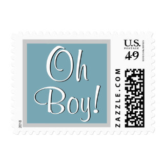 Oh Boy! Blue Silver Baby Shower or Announcement Stamp